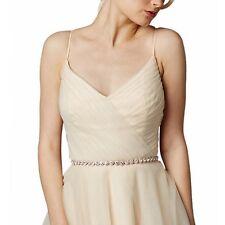 Wedding Bridal Rose Gold Round Crystal Belt Rhinestone Bead Bridal Sash Belt