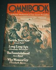 Vintage Issue of Omnibook Magazine for Jan. 1944 The Fountain Head by Ayn Rand