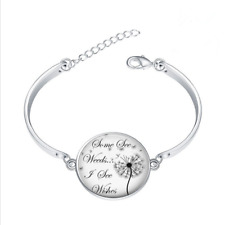 Dandelion inspirational glass cabochon Tibet silver bangle bracelets wholesale