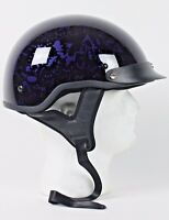 Purple Skull Boneyard DOT Shorty Half Motorcycle Helmet XS - 2XL