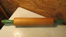 Old Green Handle Wood Rolling Pin