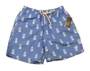 """Polo Ralph Lauren Men's Blue Pineapple Print Traveler 5.5"""" Swim Trunks"""
