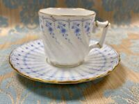Blue and White Floral Demitasse Cup and Saucer, made in Austria