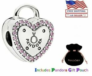 PANDORA Sterling Silver S925 ALE Lock Your Promise Pink CZ Heart Clip Charm