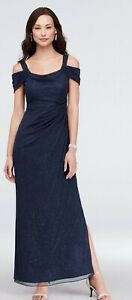 Alex Evenings Womens Gown Bright Navy US 12 Cold Shoulder Shimmer Gathered $139