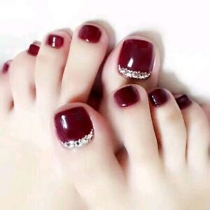 Luxury Wine Red False Toe Nails with Rhinestones Full Artificial Press On Nails