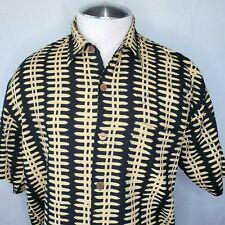 Noa Noa Vintage Medium Aloha Hawaiian Shirt Black Tan Linen Blend