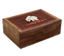 Beautiful Laser-Engraved Wooden Box with Lucky Elephant Symbol