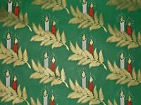VTG CHRISTMAS WRAPPING PAPER GIFT WRAP NOS GORGEOUS CANDLES RED GOLD GREEN
