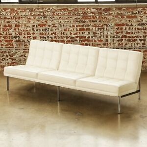 1960s Florence Knoll Parallel Bar Sofa Large Vintage Modern MCM Couch White
