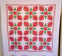 FANTASTIC QUILTED CIVIL WAR QUILT OAK LEAFVARIATION NICE SIZE AND CONDITION 1850