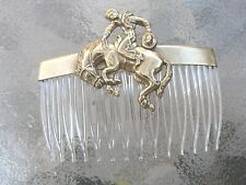 Vintage Cowboy & Bucking Bronco Antiqued Brass & Crystal Comb Made in USA 028