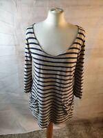 White Stuff Ivort Striped Cotton Scoop Neck 3/4 Sleeve Top T-shirt Size 12