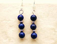 Lapis Lazuli Earrings with Sterling Silver Hooks Drop Dangle Style Handmade LB43