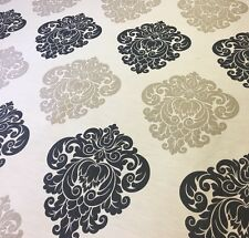 "Curtain Fabric Silver / Black / Grey Brocade / Damask Jacquard 54"" / 137cm Wide"