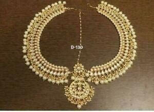 Latest Indian Wedding Style White Color Head Tikka Matha Patti Women Jewelry Set