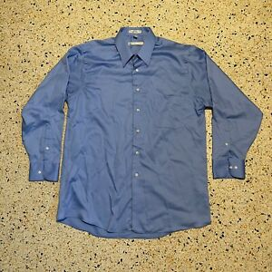 Geoffrey Beene Dress Shirt Mens Large 16 32/33 Blue Long Sleeve Wrinkle Free