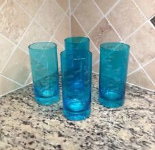 Set Of 4 NAUTICAL Blue ETCHED Glasses Tropical Fish Design NEW
