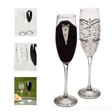 Set Handpainted Bride Groom Champagne Toast Flute Glass 9in Wedding Dinnerware