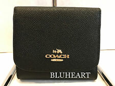 NWT! Coach Small Black Crossgrain Leahter Wallet 53716