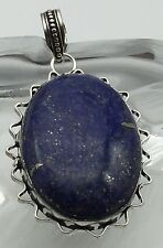 Handmade Natural Lapis Lazuli gemstone 925 sterling silver pendant  one off