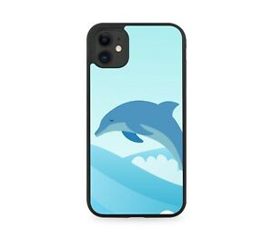 Abstract Dolphin Shapes Rubber Phone Cover Case Jumping Dolphins Sunshine J299