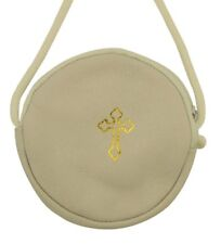 White Gold Stamped Cross Leather Rosary or Pyx Case with Strap, 3 3/4 Inch