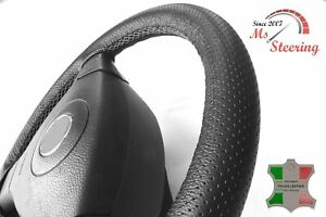 FOR WORKHORSE W-15 -BLACK PERF LEATHER STEERING WHEEL COVER GREY STITCH