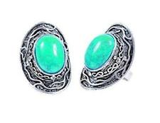 D2 Acrylic Turquoise Antique Silvertone Adjustable RING NEW
