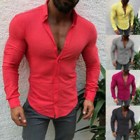 Fashion Mens Long Sleeve T-Shirt Slim Fit Casual Button-down Top Shirts Pump