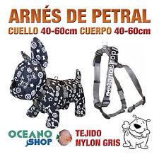 ARNÉS PETRAL PERRO NYLON GRIS DE CALIDAD AJUSTABLE CUERPO 40-60cm L101 3389