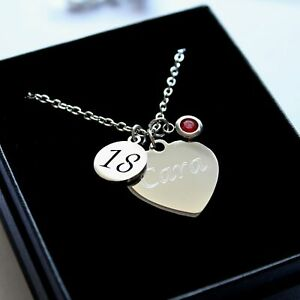 ENGRAVED Necklace Birthstone Charm Personalised 16th 18th 21st Birthday Gifts