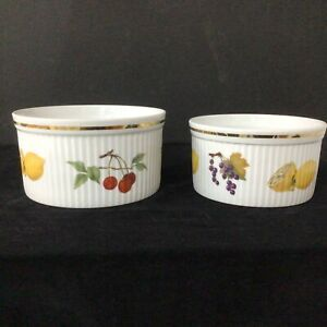2 Round Royal Worcester Fine Porcelain Evesham Souffle Bowls # 454