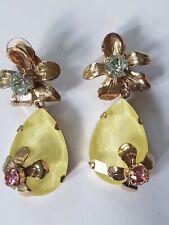 Vtg PHILIPPE FERRANDIS Paris Drop Dangle EARRINGS w Gold FLOWERS & RHINESTONES