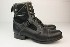 Mens G-Star Raw Handcrafted Black Leather Combat Boots Shoes UK 8 US 9 Eu 42