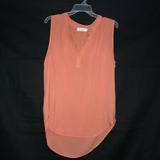 Velvet Graham & Spencer Size XS High Low Top Orange Sleeveless Lightweight VNeck