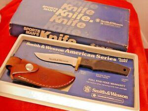 "Smith & Wesson USA made American Series 6083 8.25"" Fixed Blade Sheath Knife MIB"