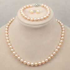 Genuine Natural 8mm Akoya shell Pearl Necklace Bracelet Earring A Set AAA