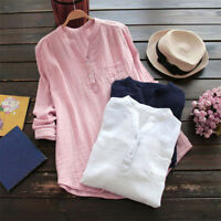 Summer Women Stand Collar Long Sleeve Casual Loose Tunic Tops T Shirt Blouse