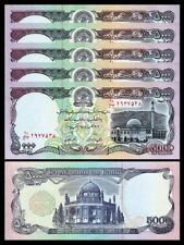 Afghanistan 5000 Afghanis 1993,Unc 5 Pcs Lot ,P-62,Red Security Thread,Watermark