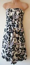 Womens Skater Dress Size 6 / 8 New Black Lilac Ivory print Party Evening Prom