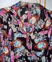 Women's Vintage Lori Of California Black with Multi Colors Blouse Sz 8 Mod disco