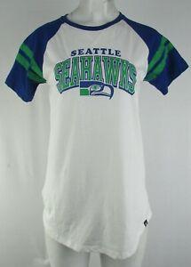 Seattle Seahawks NFL 47 Women's Royal Blue and White Raglan T-Shirt
