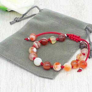 Adjustable Handmade Natural Sardonyx Gemstone Cord Bracelet & Velvet Pouch.