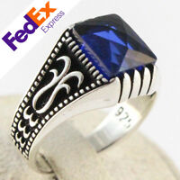 925 Sterling Silver Sapphire Stone Turkish Handmade Ottoman Men's Ring All Sizes