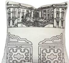 Black White Printed Linen Fabric Pierre Frey Palazzo Cushion Cover Small 30x30cm