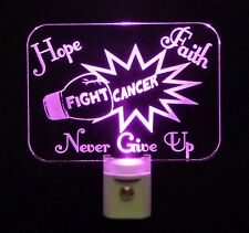 "Fight Cancer LED Night Light, Faith Hope -Can add Name- 3/8"" Acrylic"