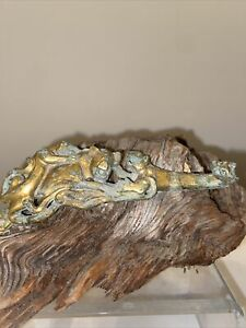 Ancient Chinese Archaistic Gilt Bronze Dragon Belt Hook Tigers  5 Inches Long