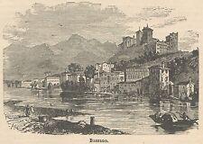 C8062 Vicenza - Bassano del Grappa - Veduta - Stampa antica - 1892 Engraving
