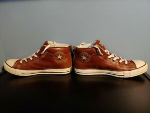 CONVERSE, MEN 9.5M, LEATHER  CHUCK TAYLOR ALL STAR  MID BOOT SNEAKER BROWN